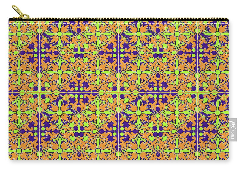 Seville Azulejo Carry-all Pouch featuring the photograph Azulejos Magic Pattern - 09 by Andrea Mazzocchetti
