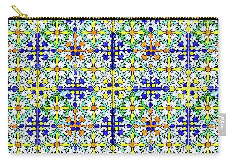 Seville Azulejo Carry-all Pouch featuring the mixed media Azulejos Magic Pattern - 11 by Andrea Mazzocchetti