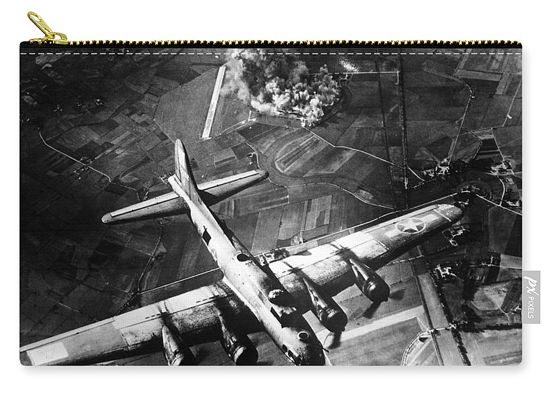 B 17 Carry-all Pouch featuring the photograph B-17 Bomber Over Germany by War Is Hell Store