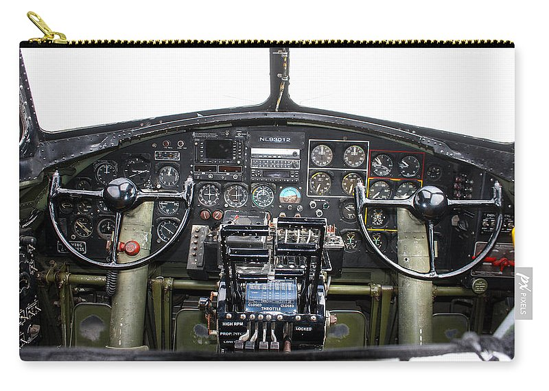 B-17 Carry-all Pouch featuring the photograph B-17 Cockpit by Tommy Anderson