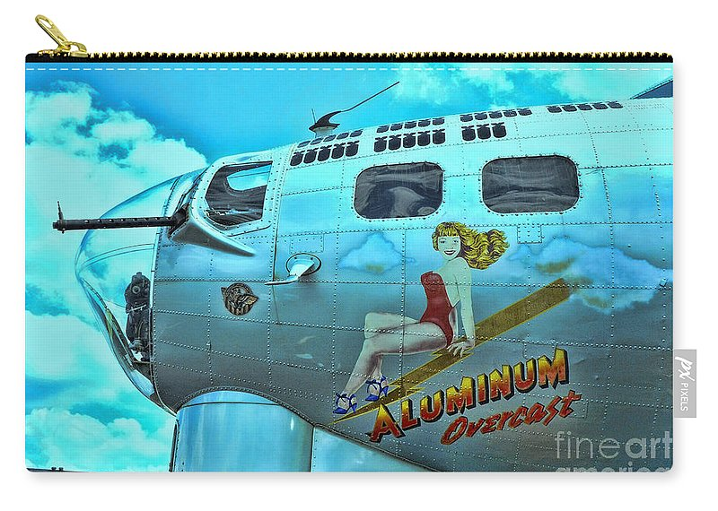 B-17 Pin-up Carry-all Pouch featuring the photograph B-17 Aluminum Overcast Pin-up by Allen Beatty