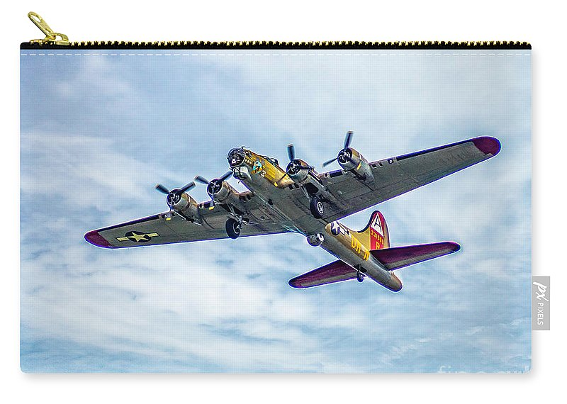 Airfest Carry-all Pouch featuring the photograph B-17g Flying Fortress In Flight by Nick Zelinsky