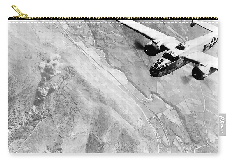 B 25 Carry-all Pouch featuring the photograph B-25 Bomber Over Germany by War Is Hell Store
