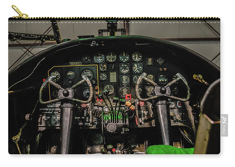Aviation Carry-all Pouch featuring the photograph B-25 Mitchell Cockpit by Tommy Anderson