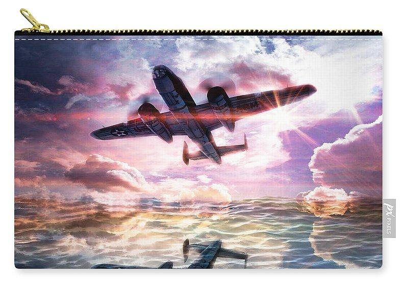 B-25b Usaaf Carry-all Pouch featuring the digital art B-25b Usaaf by Aaron Berg