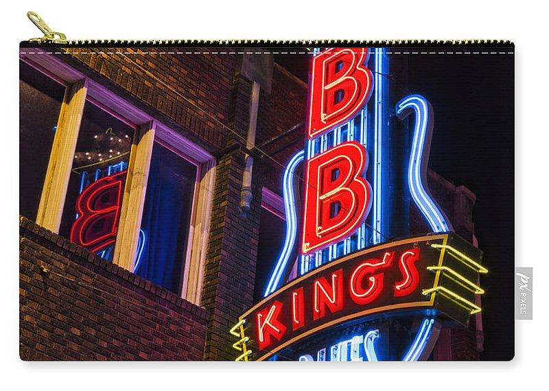 Memphis Carry-all Pouch featuring the photograph B B Kings On Beale Street by Stephen Stookey