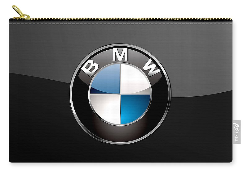 �wheels Of Fortune� Collection By Serge Averbukh Carry-all Pouch featuring the photograph B M W 3 D Badge on Black by Serge Averbukh