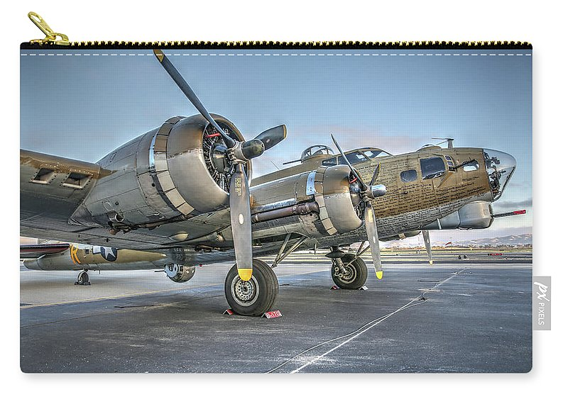 B17 Flying Fortress On The Ramp At Livermore Carry-all Pouch featuring the photograph B17 Flying Fortress On The Ramp At Livermore by John King
