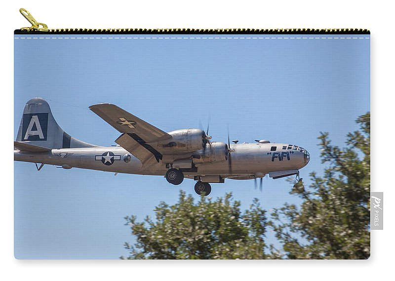 B29 Carry-all Pouch featuring the photograph B29 Superfortress Short Final At Modesto by John King