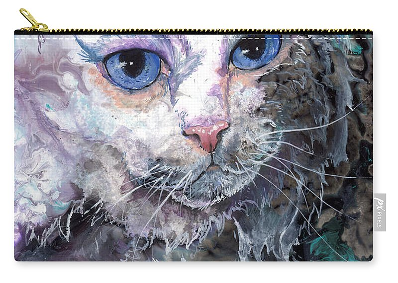 Cat Carry-all Pouch featuring the painting Baby Blues by Sherry Shipley