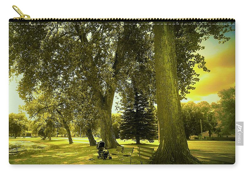 Baby Carriage Carry-all Pouch featuring the photograph Baby Carriage In A Park by Curtis Tilleraas