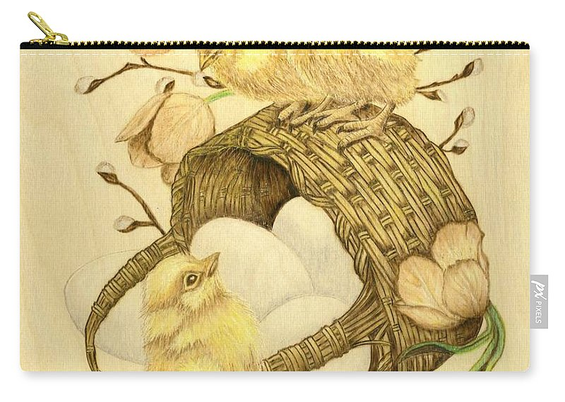 Chicks Carry-all Pouch featuring the pyrography Baby Chicks by Danette Smith