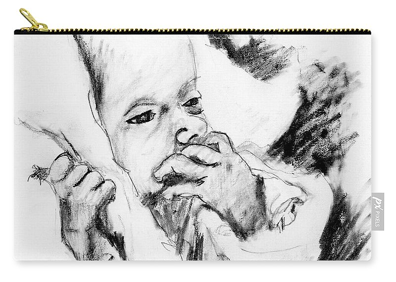 Pencil Sketch Carry-all Pouch featuring the drawing Baby Concern by Ron Bissett