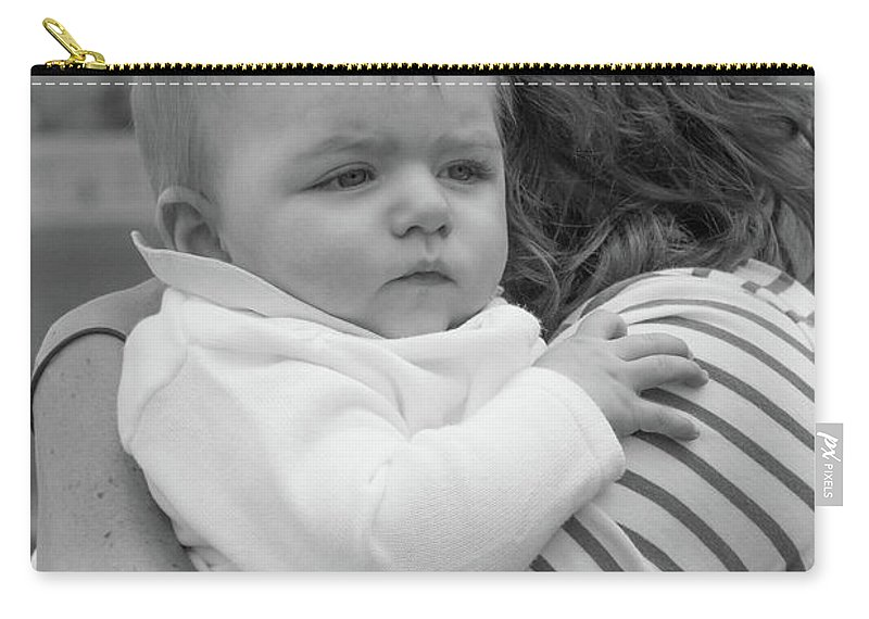 Artisans Carry-all Pouch featuring the photograph Baby Content On Mom's Shoulder by Cary Leppert
