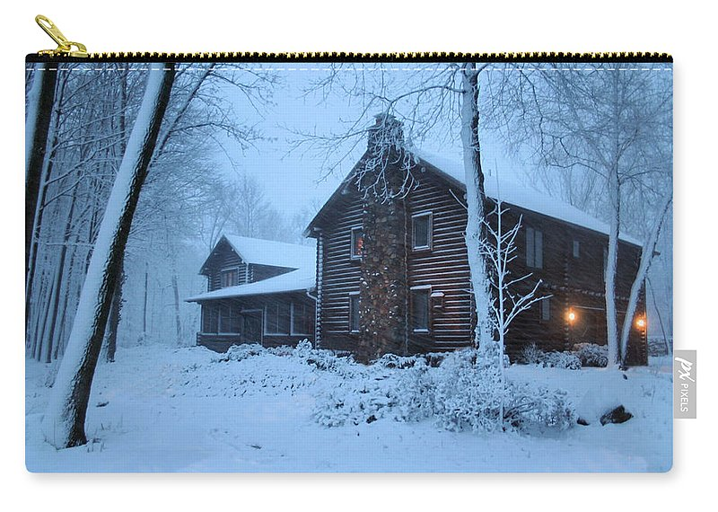 Logs Carry-all Pouch featuring the photograph Baby Its Cold Outside by Kristin Elmquist