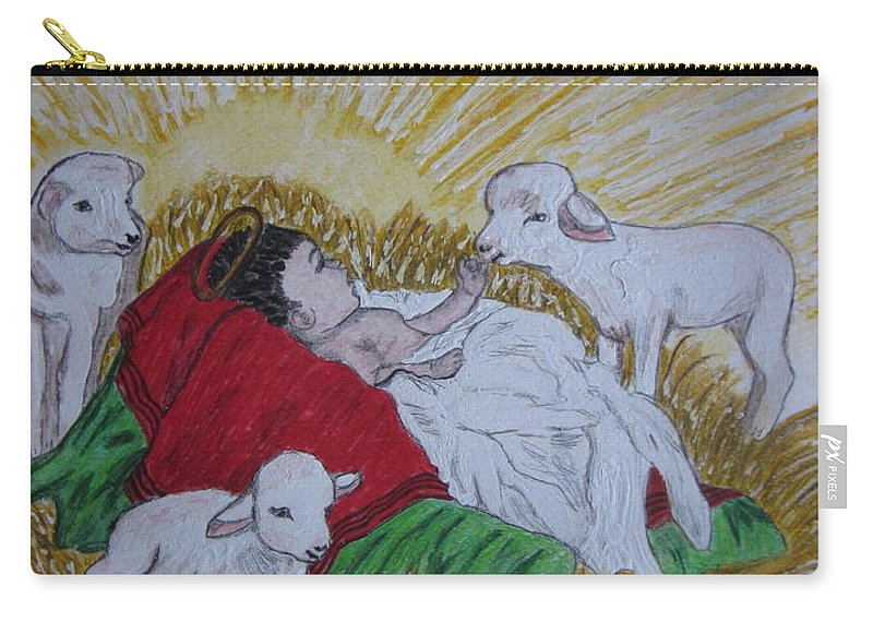 Saviour Carry-all Pouch featuring the painting Baby Jesus At Birth by Kathy Marrs Chandler