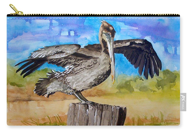 Pelican Carry-all Pouch featuring the painting Baby Spreads His Wings by Jean Blackmer