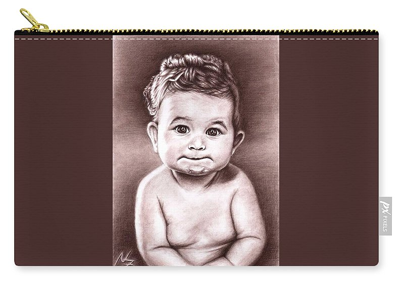 Baby Child Kind Enfant Face Sepia Charcoal Portrait Realism Carry-all Pouch featuring the drawing Babyface by Nicole Zeug
