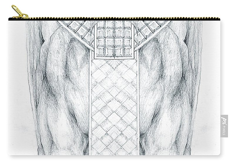 Babylonian Carry-all Pouch featuring the drawing Babylonian Sphinx Lamassu by Curtiss Shaffer
