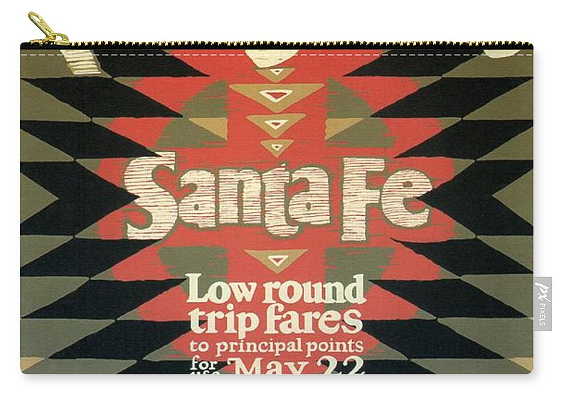 Back East Carry-all Pouch featuring the mixed media Back East Xcursions - Santa Fe, Mexico - Indian Detour - Retro Travel Poster - Vintage Poster by Studio Grafiikka