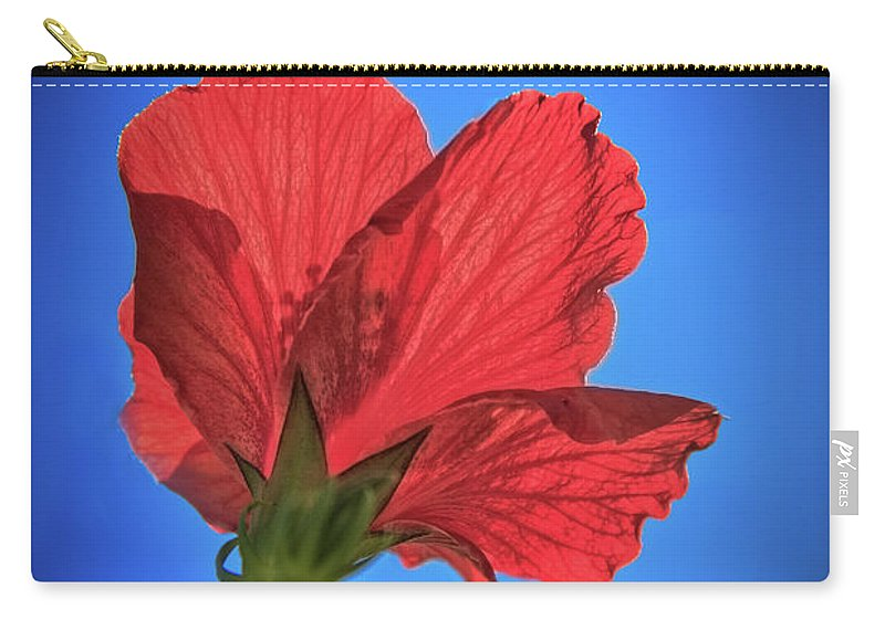 Hibiscus Carry-all Pouch featuring the photograph Back Lighting The Red Hibiscus by Robert Bales