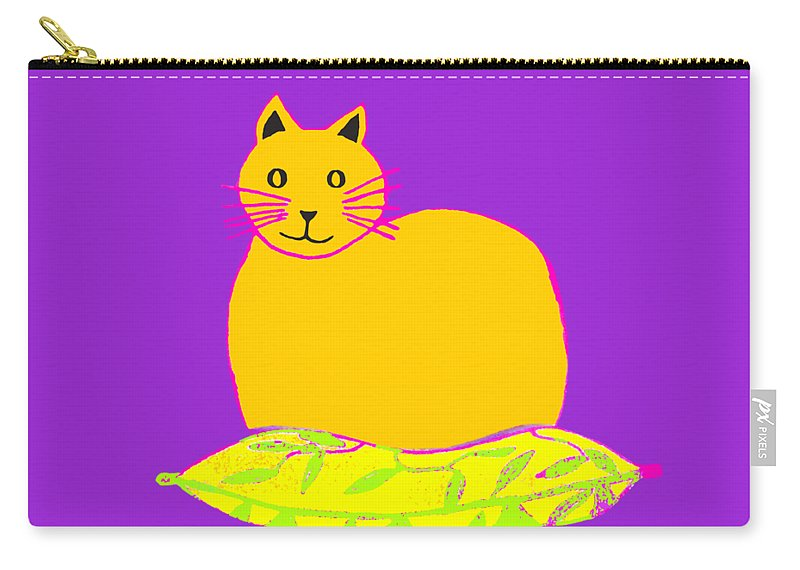 Background Colour Choice Saffron Cat Carry-all Pouch featuring the drawing Background Colour Choice Saffron Cat by Barbara Moignard