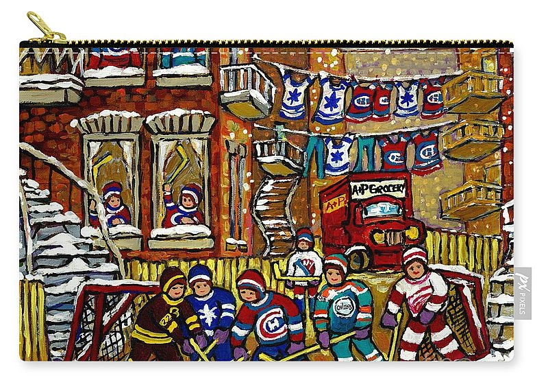 Original Montreal Paintings For Sale Carry-all Pouch featuring the painting Backlane Snowy Winter Scene Hockey Game Verdun Alley Montreal Team Jerseys Canadian Art by Carole Spandau