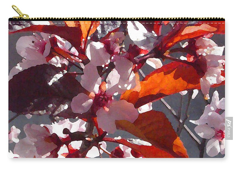 Floral Carry-all Pouch featuring the painting Backlit Pink Tree Blossoms by Amy Vangsgard