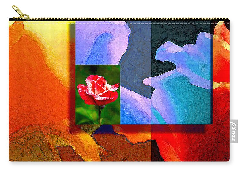 Modern Carry-all Pouch featuring the digital art Backlit Roses by Stephen Lucas
