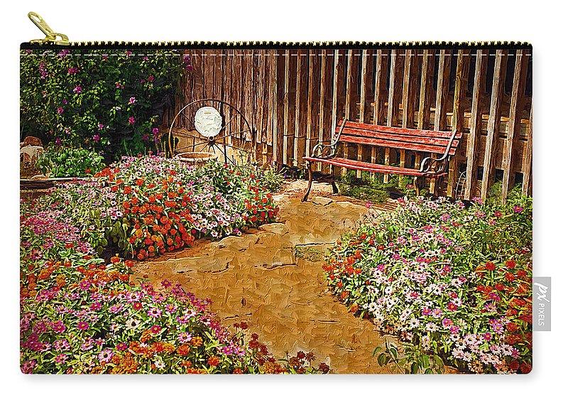 Pink Flower Carry-all Pouch featuring the digital art Backyard Garden by Paul Bartoszek