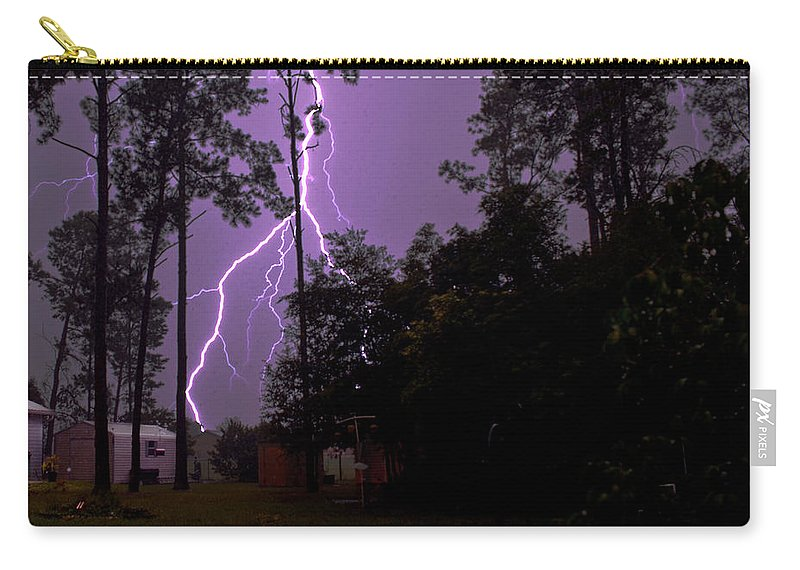 Nature Carry-all Pouch featuring the photograph Backyard Lightning by Christopher Holmes
