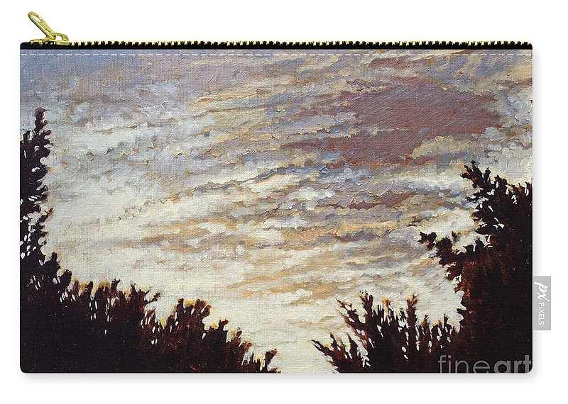 Landscape Carry-all Pouch featuring the painting Backyard Sunset by Todd Blanchard