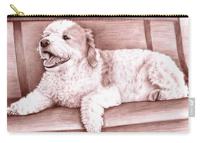 Dog Carry-all Pouch featuring the drawing Baco by Nicole Zeug