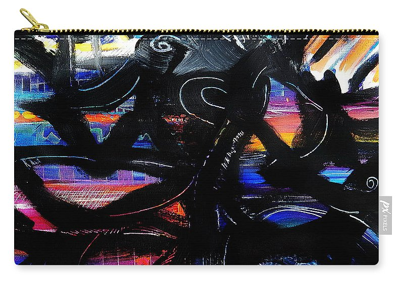 Original Painting On Canvas .abstract Carry-all Pouch featuring the painting Badass Black by Priscilla Batzell Expressionist Art Studio Gallery