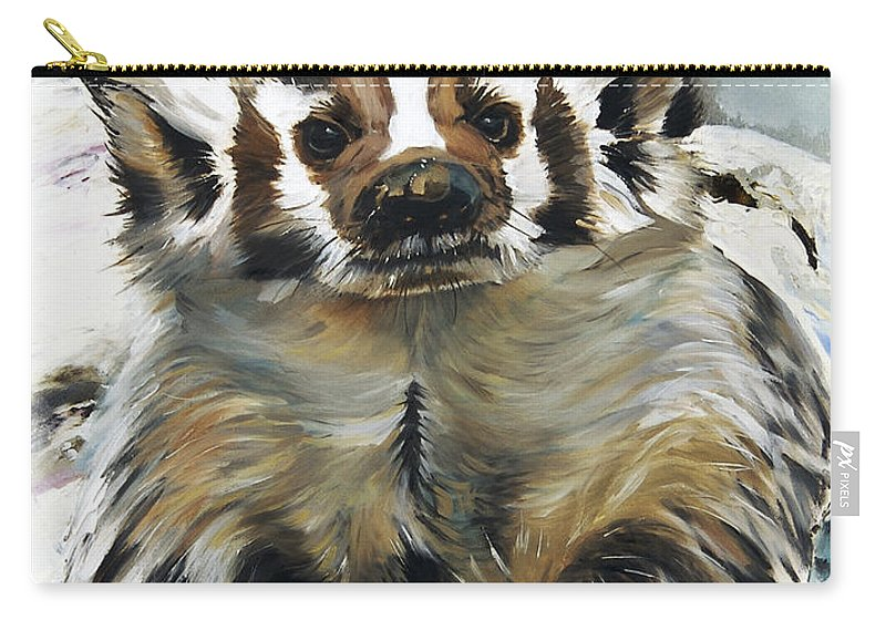 Southwest Art Carry-all Pouch featuring the painting Badger - Guardian Of The South by J W Baker