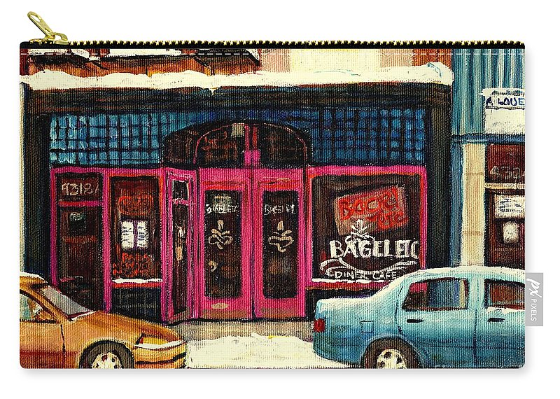 Bagels Etc.montreal Carry-all Pouch featuring the painting Bagels Etc Montreal by Carole Spandau
