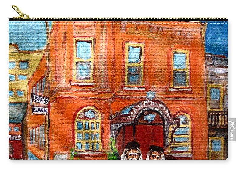 Bagg Street Synagogue Sabbath Carry-all Pouch featuring the painting Bagg Street Synagogue Sabbath by Carole Spandau