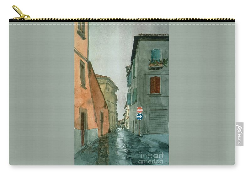 Italy Carry-all Pouch featuring the painting Bagnoregio Street In The Rain by Robert Bowden