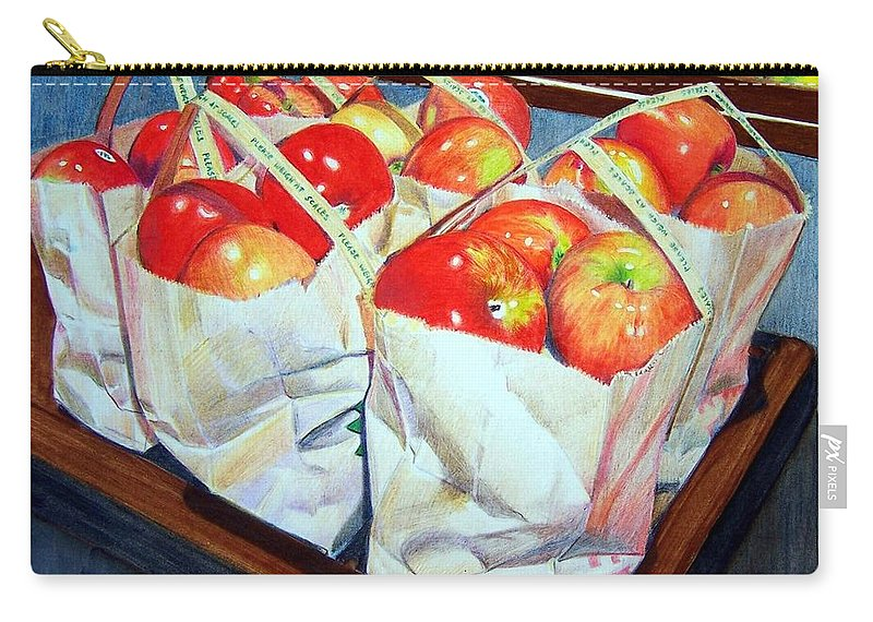 Apples Carry-all Pouch featuring the mixed media Bags of Apples by Constance Drescher
