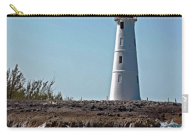 Ocean Carry-all Pouch featuring the digital art Bahamas Lighthouse by DigiArt Diaries by Vicky B Fuller