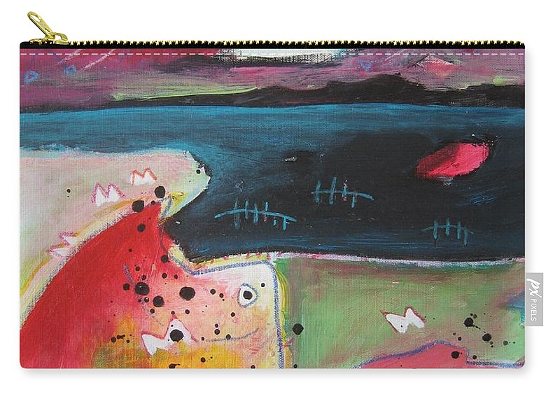 Acrylic Paintings Carry-all Pouch featuring the painting Baieverte by Seon-Jeong Kim