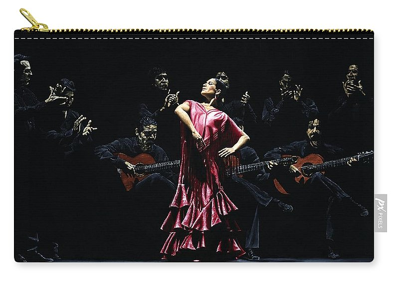 Flamenco Carry-all Pouch featuring the painting Bailarina Orgullosa del Flamenco by Richard Young