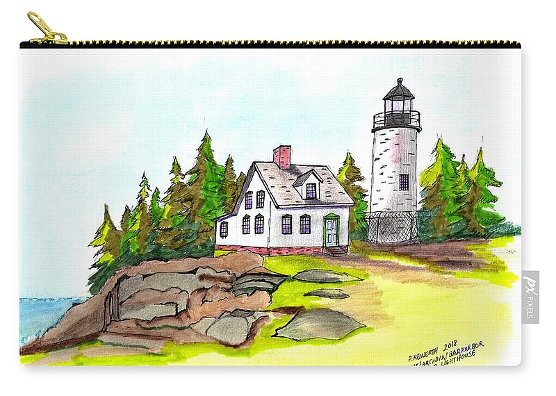 Drawings By Paul Meinerth Carry-all Pouch featuring the drawing Baker Island Bar Harbor Maine by Paul Meinerth