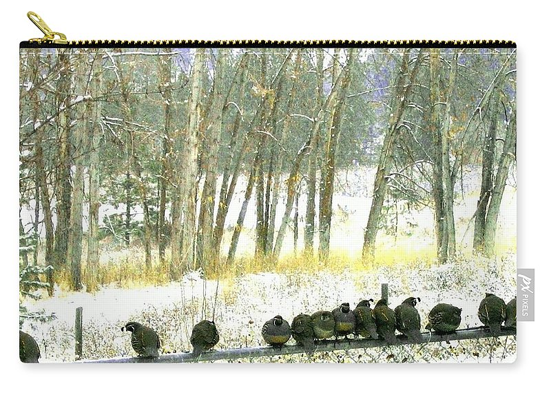 Thirteen Quail Carry-all Pouch featuring the photograph Bakers Dozen by Will Borden