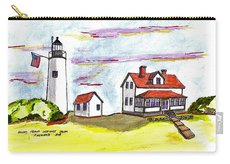 Drawings By Paul Meinerth Carry-all Pouch featuring the drawing Bakers Island Salem by Paul Meinerth
