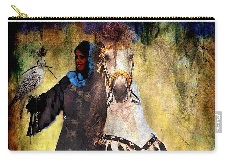 Rearing Horse Carry-all Pouch featuring the photograph Bakhtiari Falconess by Anastasia Savage Ealy