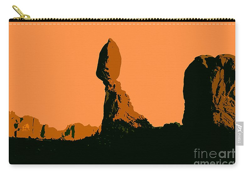 Balance Rock Carry-all Pouch featuring the painting Balance Rock by David Lee Thompson