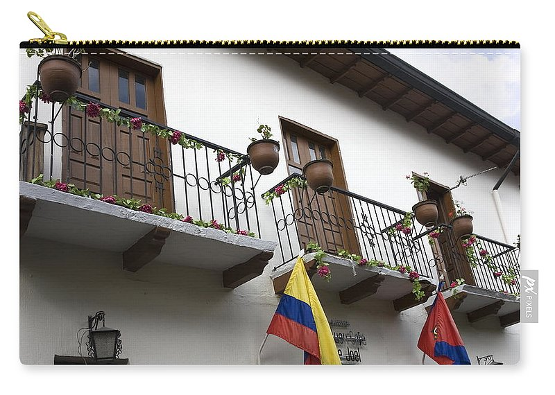 Balconies Carry-all Pouch featuring the photograph Balconies And Flags by Sally Weigand