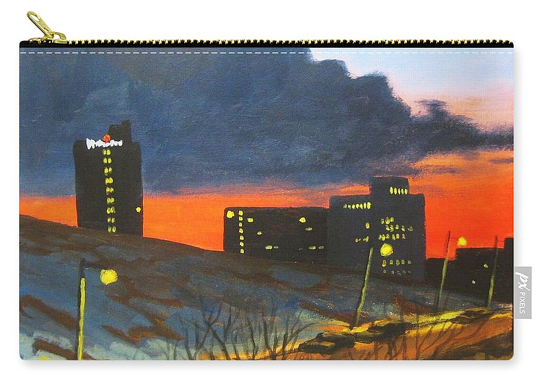 Sunset Carry-all Pouch featuring the painting Balcony View 2 by John Malone