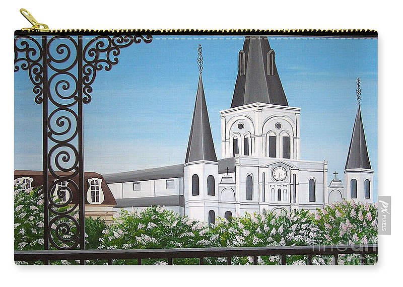 New Orleans Carry-all Pouch featuring the painting Balcony View Of St Louis Cathedral by Valerie Carpenter